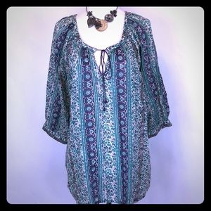 Lucky Brand Cotton BoHo hippie tunic top Medium